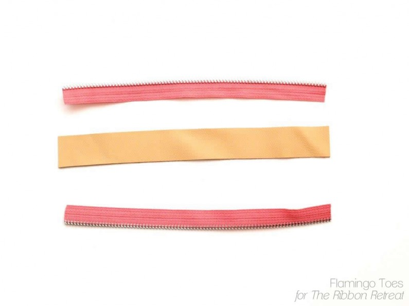 leather and zippers for bracelet