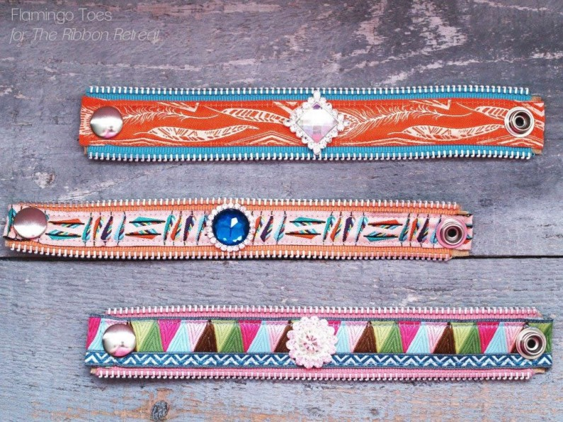 ribbon and bead bracelets