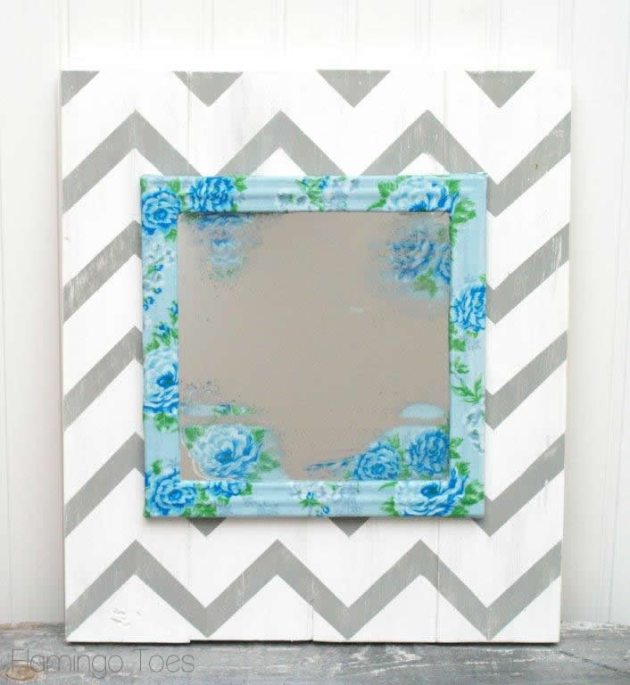 Floral Mirror and Chevron Art