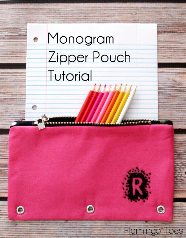 Monogram Zipper Pouch Tutorial