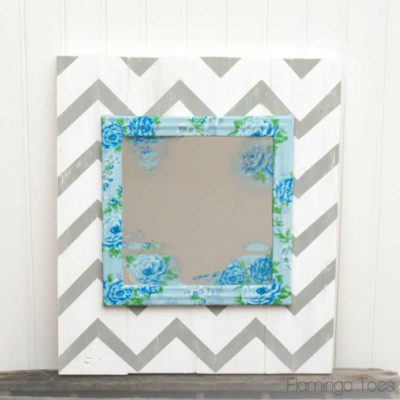 Chevron & Floral Mirror Art