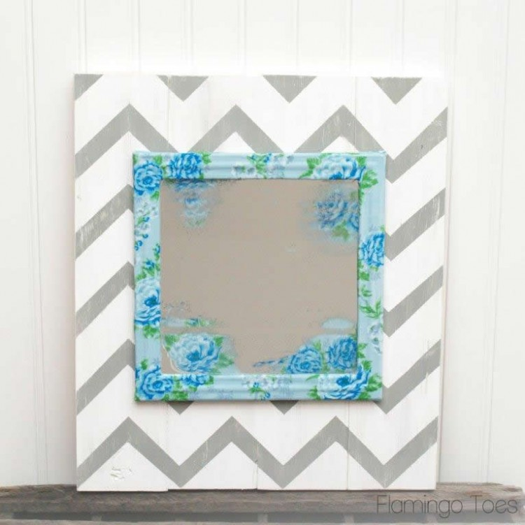 Wooden Chevron Mirror Art