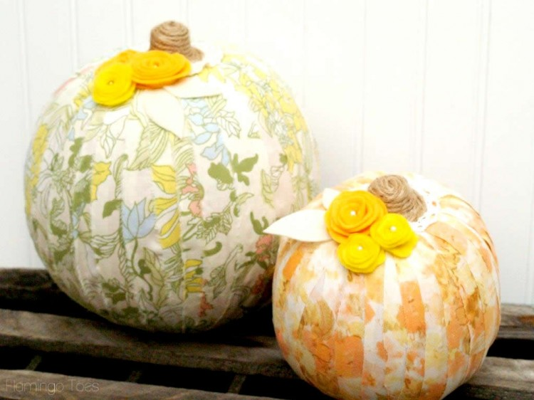 fabric wrapped pumpkin DIY