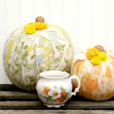 Vintage Style Fabric-Wrapped Pumpkins