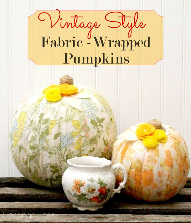 vintage style fabric wrapped pumpkins