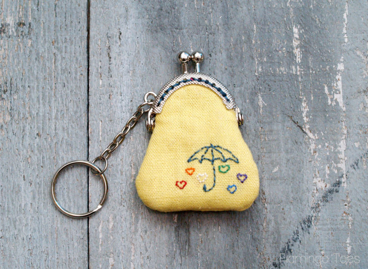 Embroidered Key Chain Coin Purse