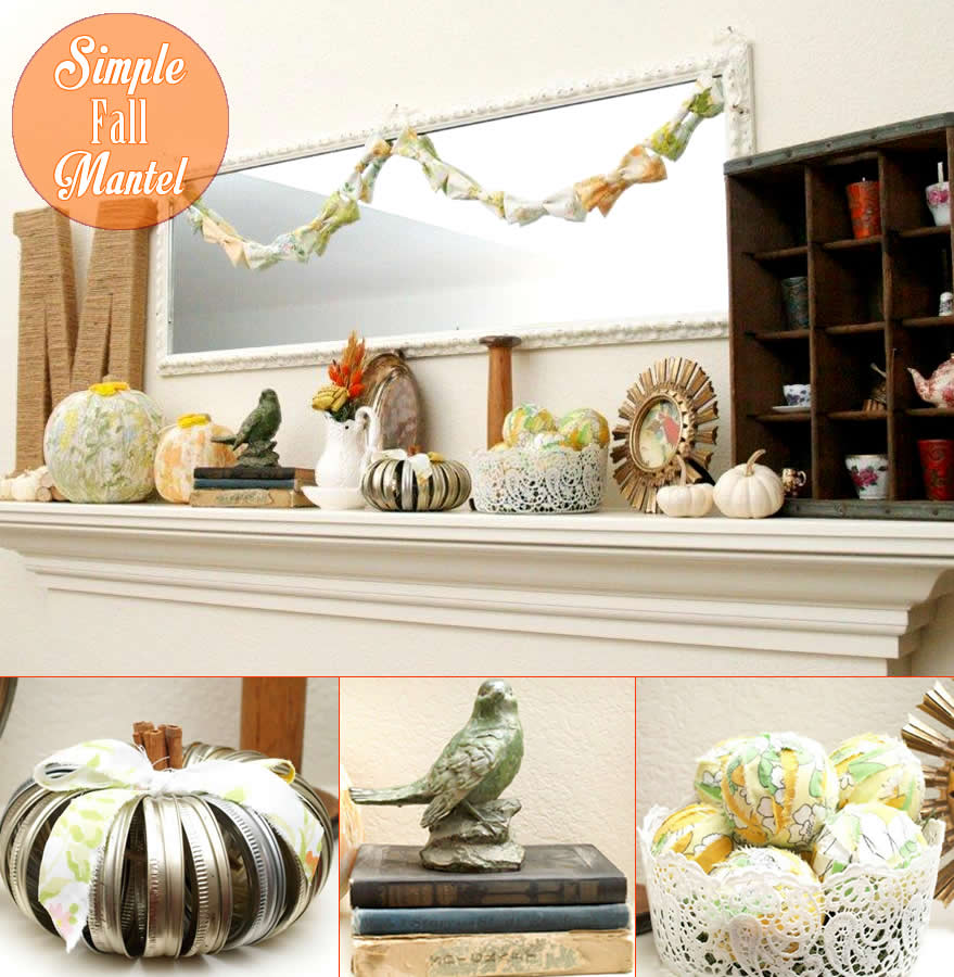 Simple Vintage Fall Mantel