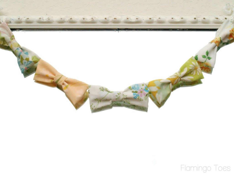 Vintage Fabric Bow Bunting