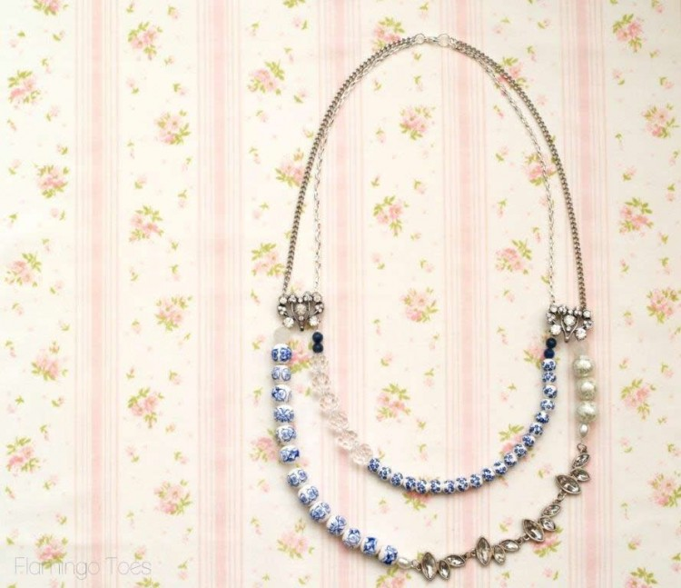 blue china beaded necklace