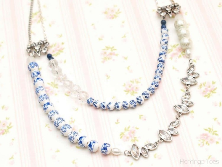pretty bead and crystal necklace