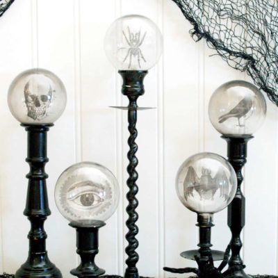 DIY Spooky Crystal Ball Halloween Candlesticks