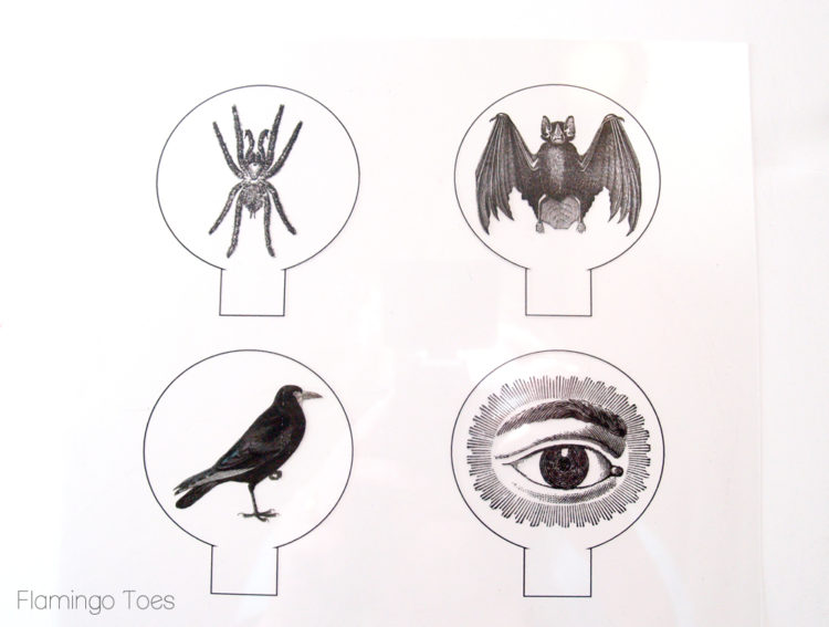 DIY Spooky Crystal Ball Halloween Candlesticks tutorial featured by top US craft blog, Flamingo Toes:Printed images on transparency