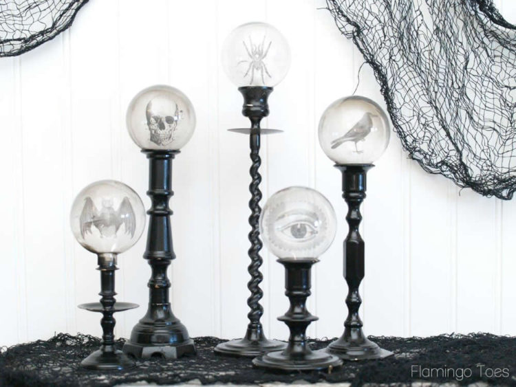 DIY Spooky Crystal Ball Halloween Candlesticks tutorial featured by top US craft blog, Flamingo Toes: Spooky Candlestick Display