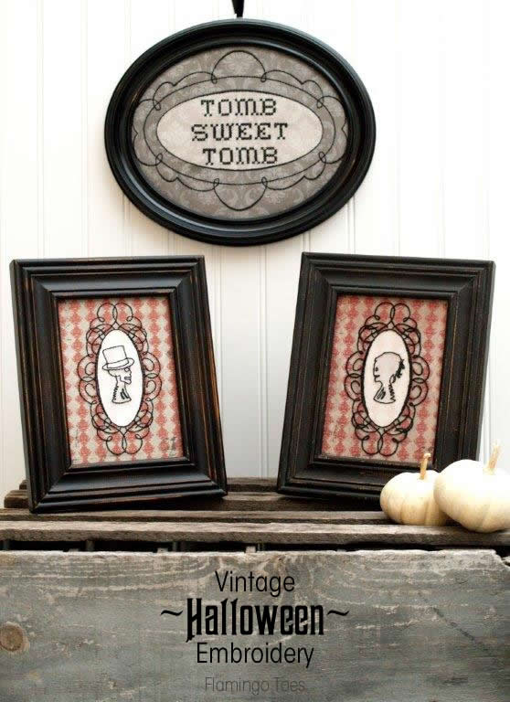 Vintage Halloween Embroidery Printables