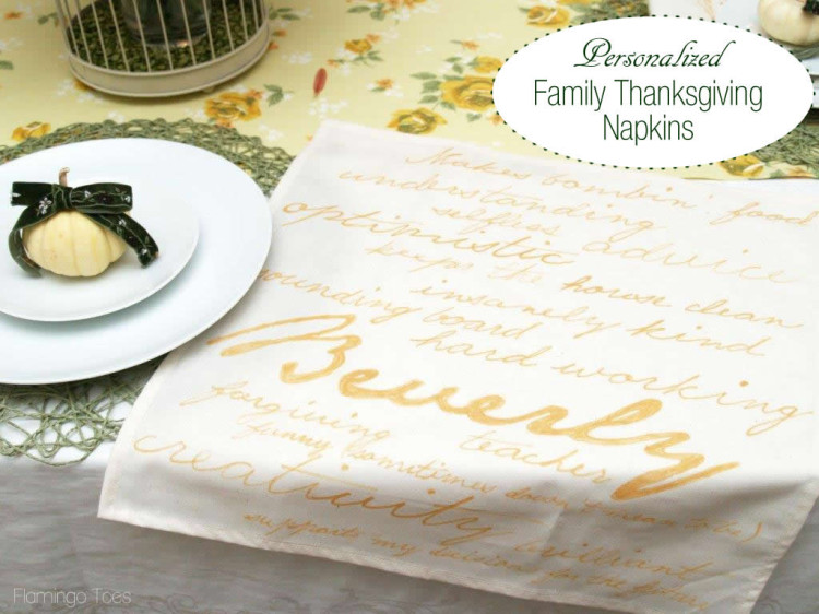 Personalized Thankful Napkins #turkeytablescapes