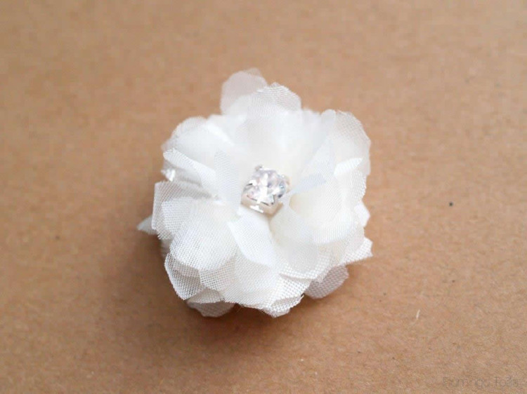 Rhinestone and chiffon flower