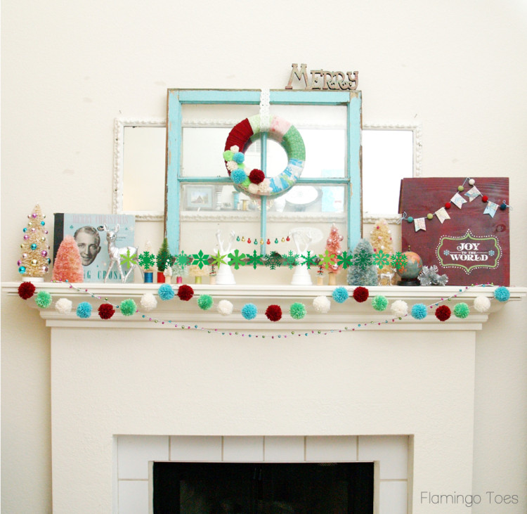Colorful Christmas Mantel