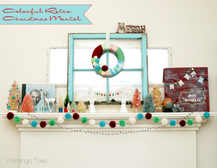 Colorful Retro Christmas Mantel