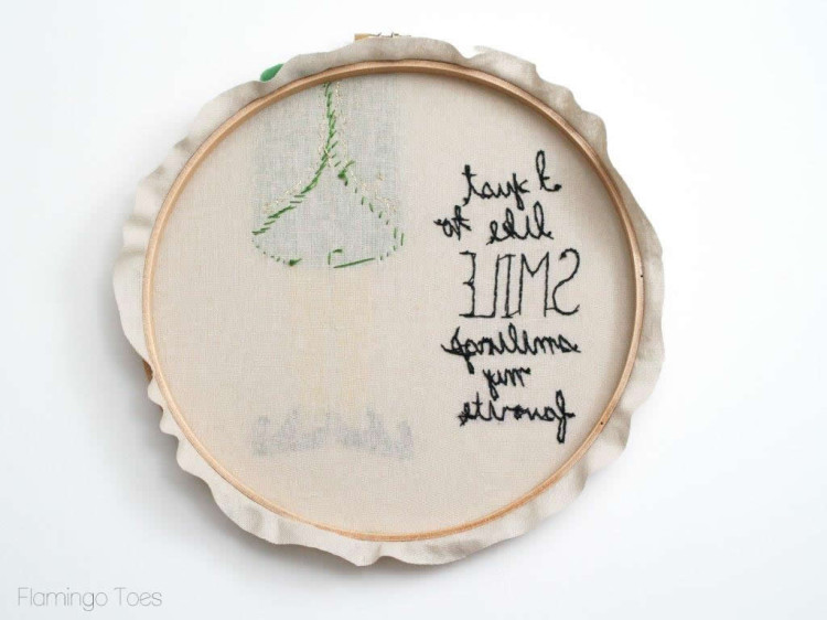 Smiling s my favorite embroidery hoop art