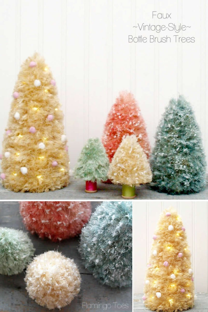 Faux Vintage Style Bottle Brush Trees