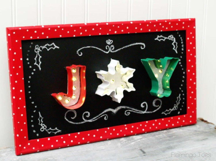 Joy Light Up Chalkboard Art