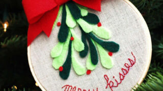 Merry Kisses Mistletoe Hoop Ornament