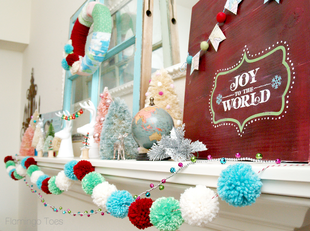 Retro Colorful Christmas Mantel