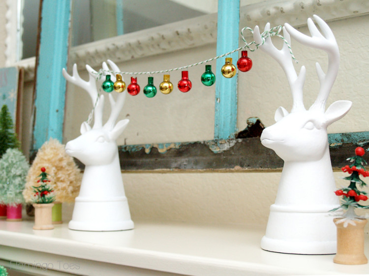 White Christmas Deer with Ornaments