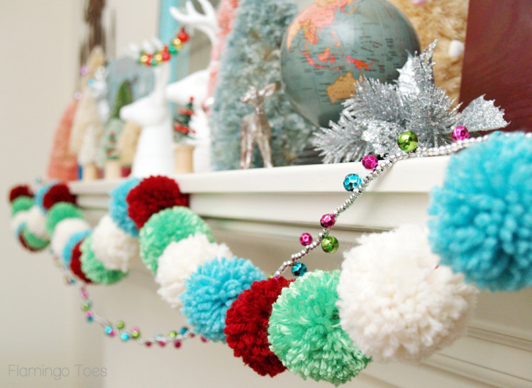 Yarn Pom Pom Christmas Garland