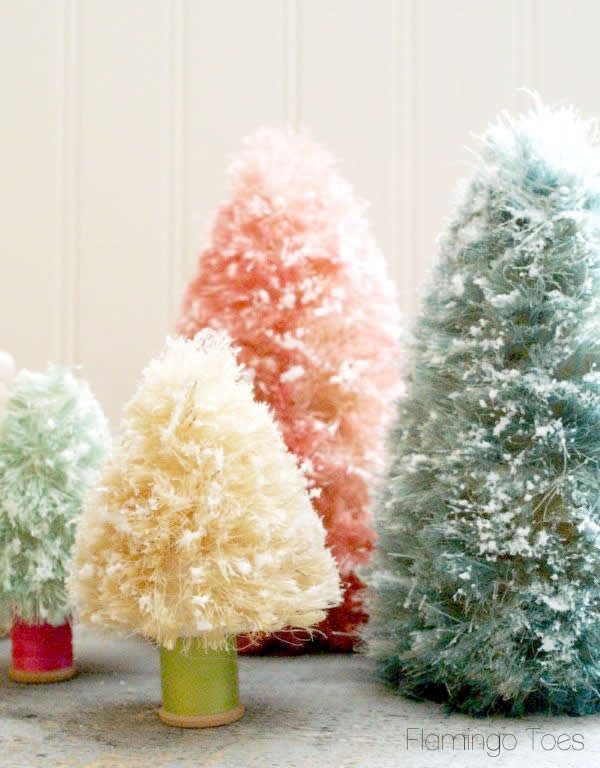 pastel Christmas bottle brush trees