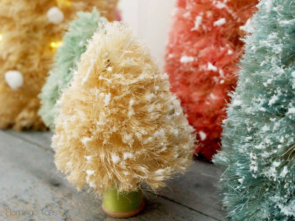 pastel and glitter bottle brush trees