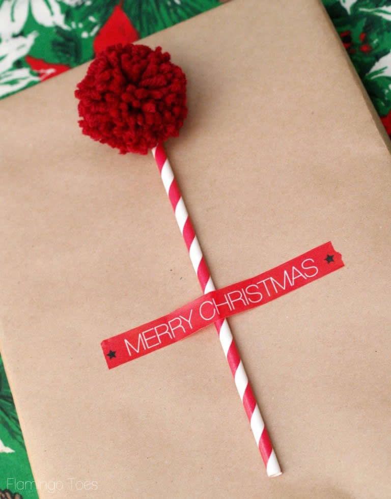 pom pom and washi tape gift