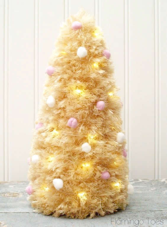 pom poms and lights sisal tree