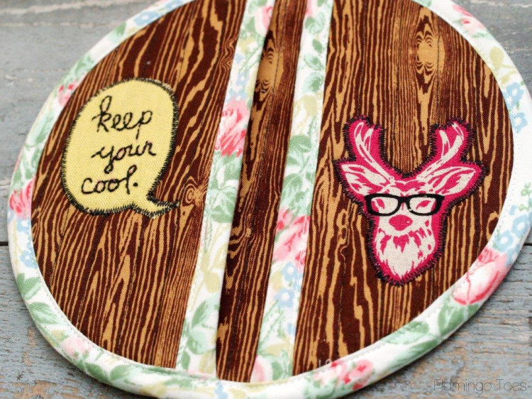 wood grain fabric potholder