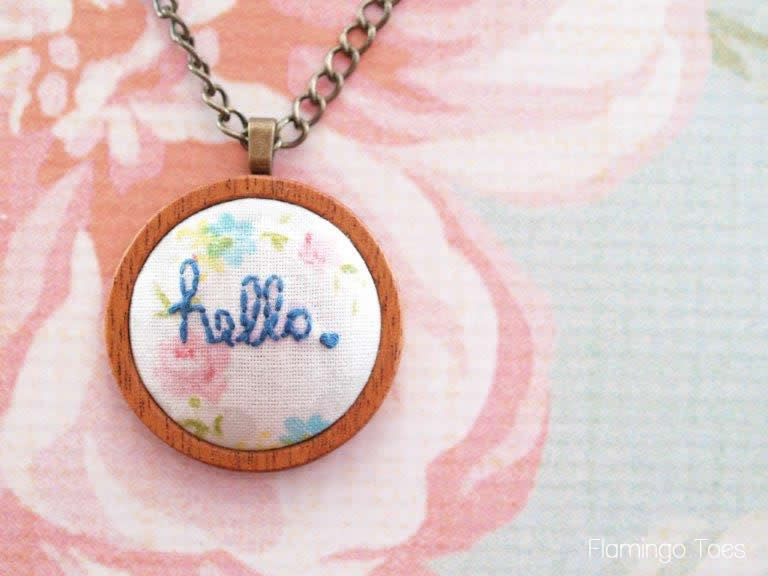 """Hello"" Embroidered Pendant Necklace"