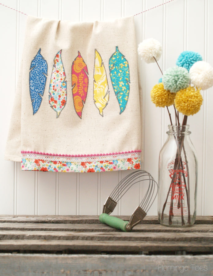 DIY Fabric Feather Dishtowel