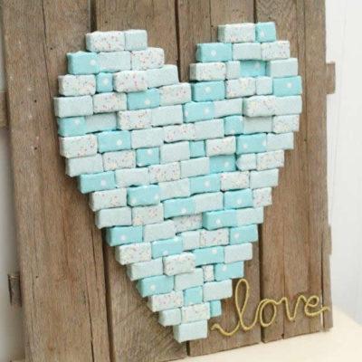 Pixelated Fabric Heart DIY Pallet Art