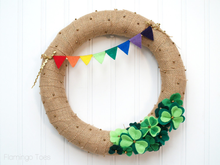 St Patricks Day Burlap Wreath