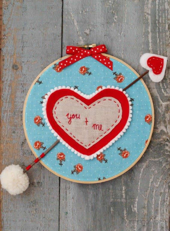 You and Me Valentine Hoop Art