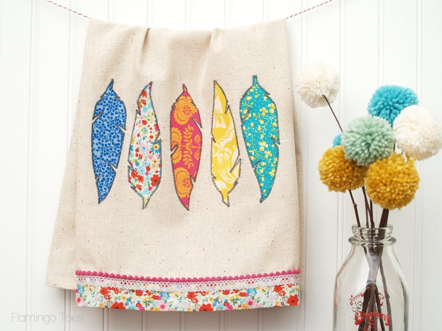 fabric feather dishtowel tutorial