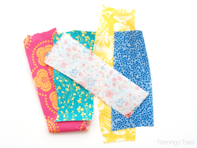 fabric pieces with fusible webbing