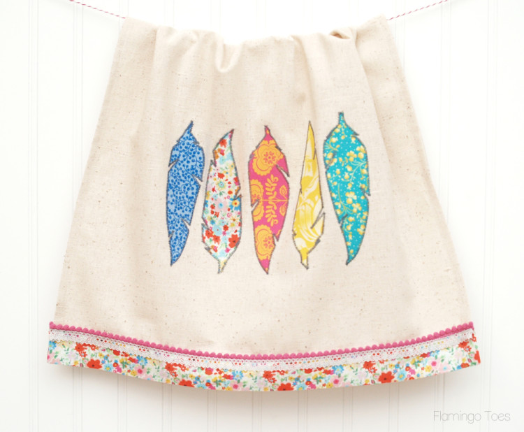 feather dishtowel