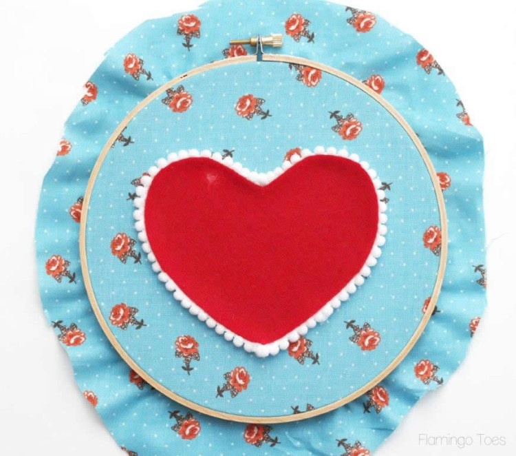 felt and pom pom heart