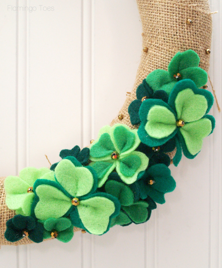 felt shamrocks on wreath