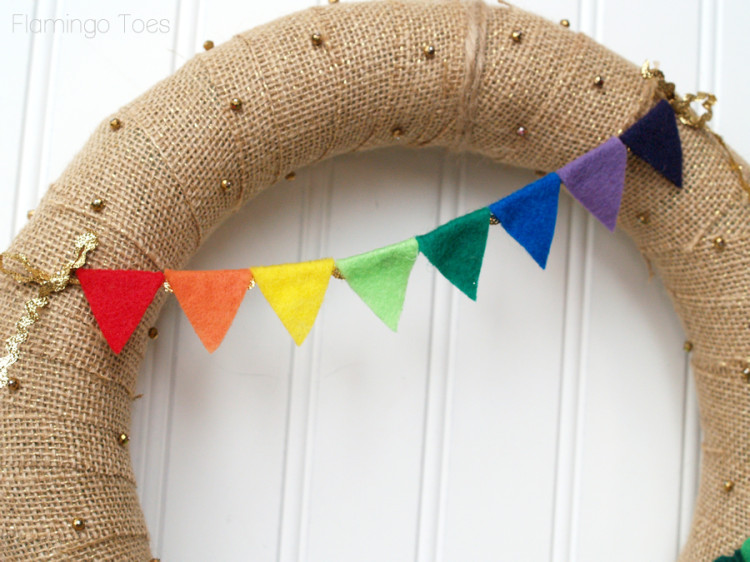 rainbow pennant for wreath