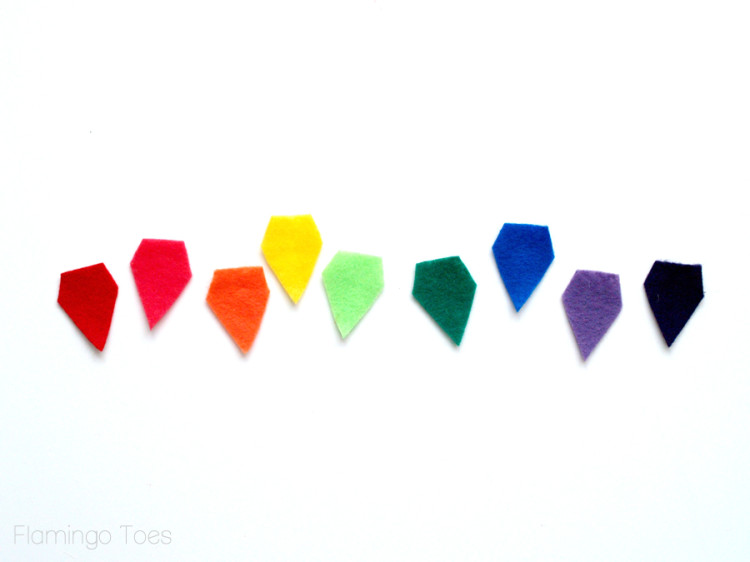 rainbow pennant pieces