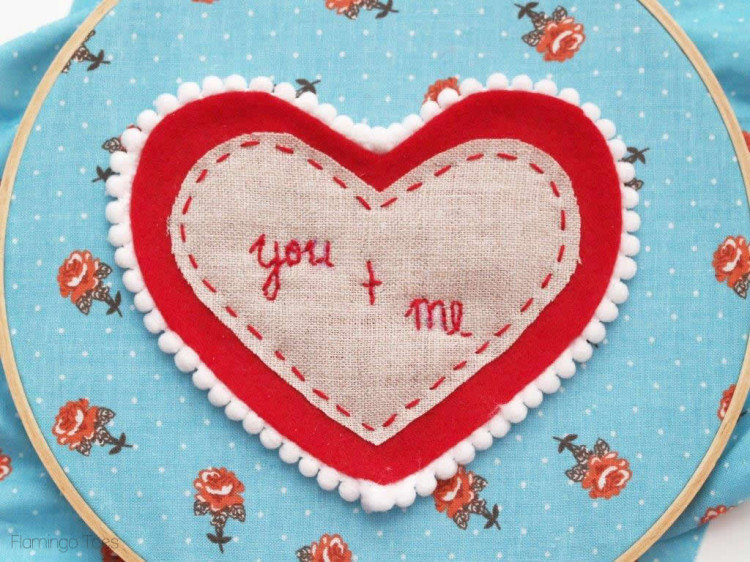 you and me embroidery hoop