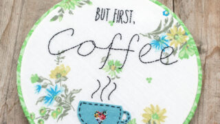 Simple Embroidery Stitched Coffee Hoop Art
