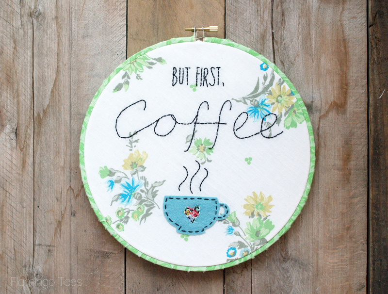 But First, Coffee Hoop Art