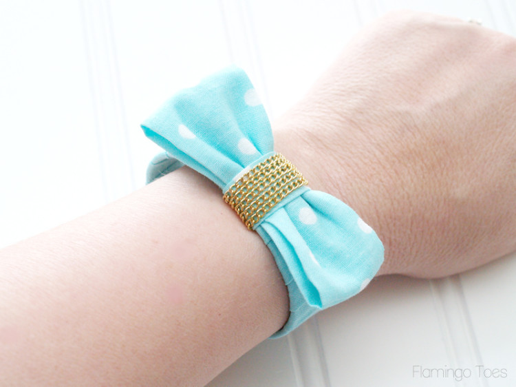 Mint Fabric Bow Bracelet